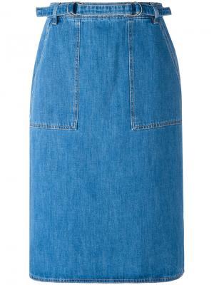 Джинсовая юбка Mih Jeans. Цвет: синий