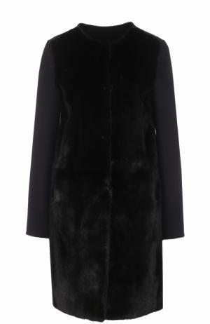 Пальто из смеси шерсти и кашемира с отделкой меха норки Yves Salomon. Цвет: черный