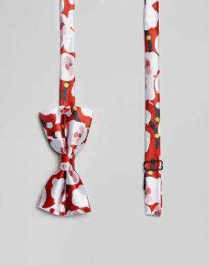 7X Галстук-бабочка с новогодним принтом Санта-Клауса. Цвет: красный