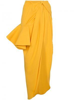 Асимметричная юбка с оборкой Jacquemus. Цвет: жёлтый и оранжевый