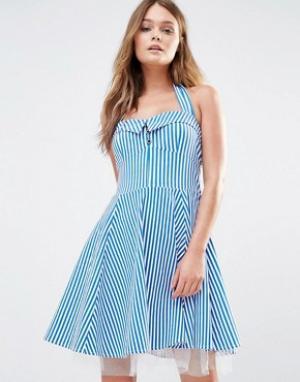 Iska Короткое приталенное платье в стиле 50‑х полоску. Цвет: синий