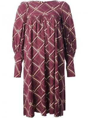 Свободное платье в сетку Biba Vintage. Цвет: красный
