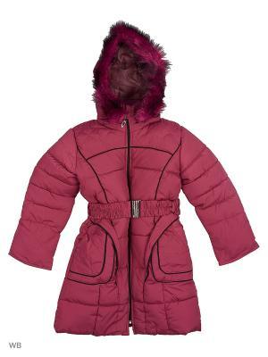 Пальто утепленное для девочки Кантик Пралеска. Цвет: красный