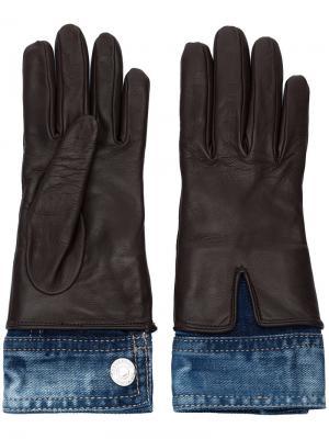 Перчатки с джинсовыми вставками Dsquared2. Цвет: коричневый