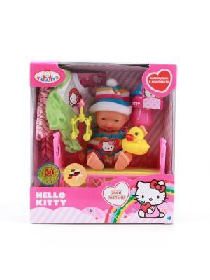Пупс Карапуз Hello Kitty 10см, в кроватке, с аксессуароми, одежда. Цвет: голубой, малиновый, белый