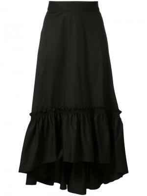 Асимметричная плиссированная юбка Trina Turk. Цвет: чёрный