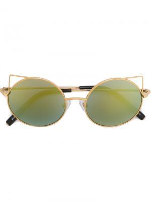 Солнцезащитные очки с круглой оправой Matthew Williamson. Цвет: металлический