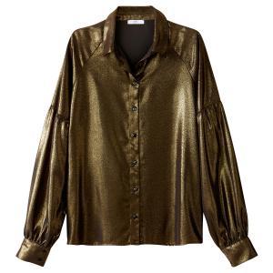 Рубашка однотонная с воротником-стойкой и длинными рукавами La Redoute Collections. Цвет: блестящий бронзовый