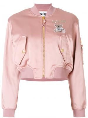 Куртка-бомбер с логотипом Moschino. Цвет: розовый и фиолетовый