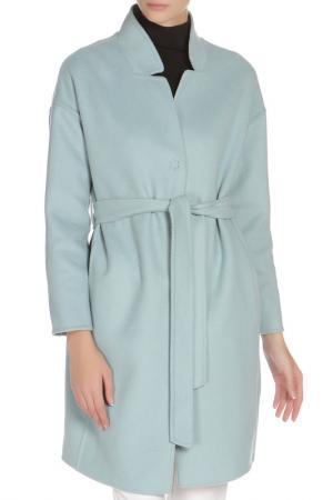 Полуприлегающее пальто с поясом Cinzia Rocca. Цвет: голубой