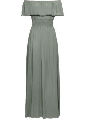 Длинное платье с вырезом-кармен (хаки) bonprix. Цвет: хаки