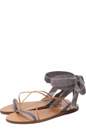 Бархатные сандалии с лентами на щиколотке Valentino. Цвет: серый