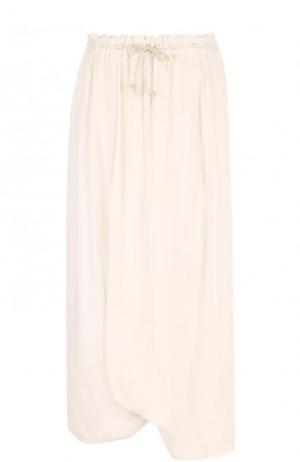 Однотонная юбка-миди с эластичным поясом Yohji Yamamoto. Цвет: бежевый