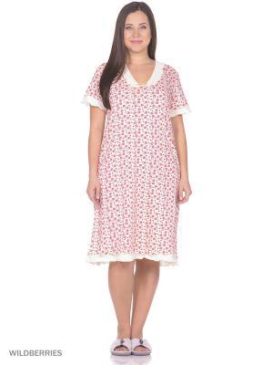Ночная сорочка HomeLike. Цвет: красный, молочный
