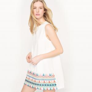 Платье-трапеция с вышивкой MOLLY BRACKEN. Цвет: белый,черный