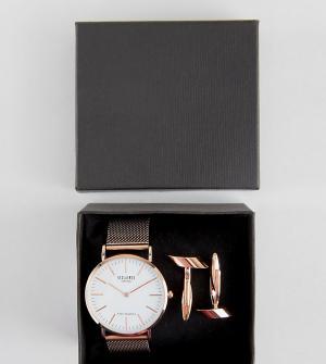 Reclaimed Vintage Подарочный набор с часами и запонками золотисто-розового цвета Reclaim. Цвет: золотой