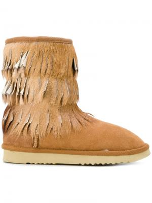 Ботинки Eskimo с бахромой Mou. Цвет: коричневый
