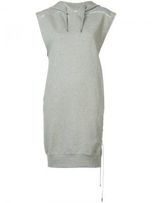 Платье с капюшоном и шнуровкой Public School. Цвет: серый