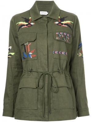 А-образная куртка с вышивкой Tanya Taylor. Цвет: зелёный