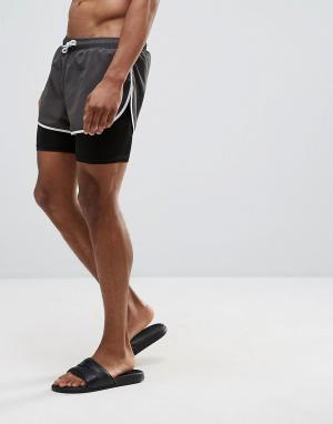 ASOS Двухслойные шорты для плавания с разрезами по бокам. Цвет: черный