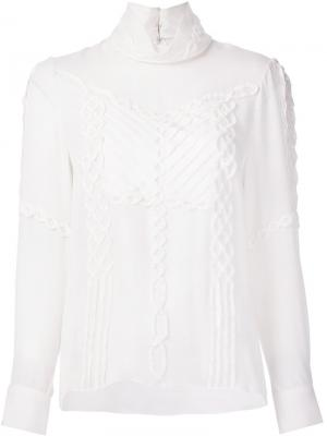Блузка с высоким воротником Prabal Gurung. Цвет: белый