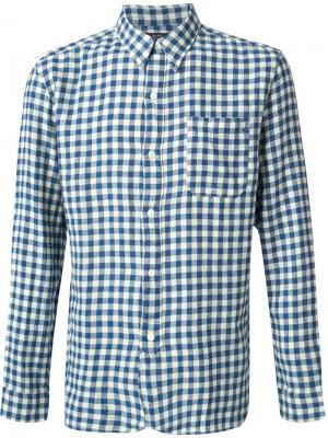 Рубашка в клетку Rrl. Цвет: синий
