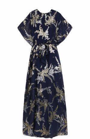 Шелковое платье с металлизированной вышивкой и поясом Oscar de la Renta. Цвет: темно-синий