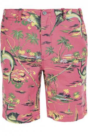 Шорты из смеси льна и хлопка Polo Ralph Lauren. Цвет: розовый