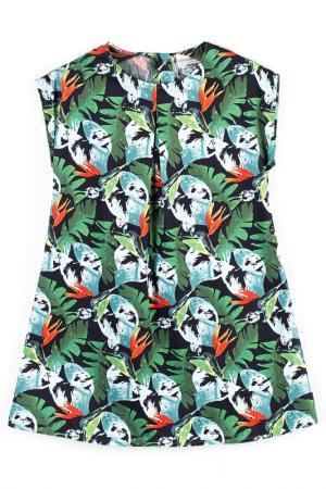 Платье Coccodrillo. Цвет: зеленый, черный, оранжевый