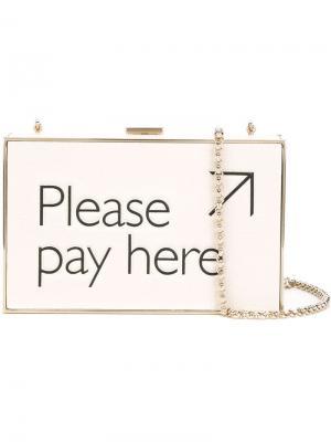 Клатч-футляр Please Pay Here Anya Hindmarch. Цвет: телесный