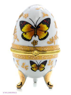 Шкатулка-яйцо Бабочки Elan Gallery. Цвет: золотистый, белый