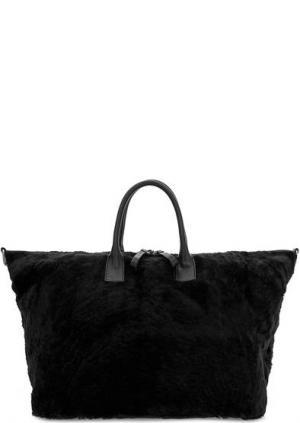 Вместительная меховая сумка на молнии Io Pelle. Цвет: черный