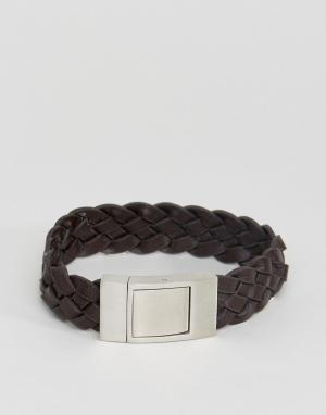 Seven London Коричневый кожаный плетеный браслет. Цвет: коричневый