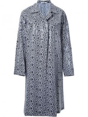 Однобортное пальто с цветочным принтом Jil Sander. Цвет: чёрный