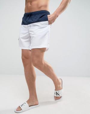 ASOS Сине-белые шорты для плавания средней длины. Цвет: темно-синий
