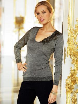 Пуловер Together. Цвет: серый (осн.), серебристый, черный