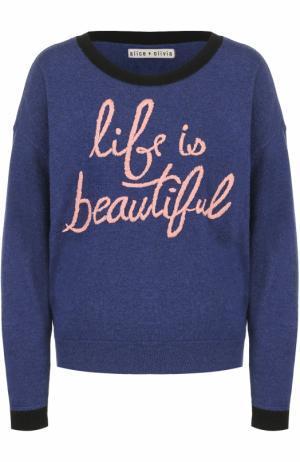 Пуловер свободного кроя с контрастной вышивкой Alice + Olivia. Цвет: синий