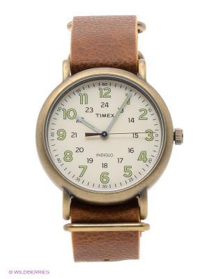 Часы TIMEX. Цвет: золотистый, коричневый