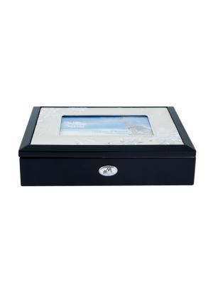 Шкатулка-фоторамка ювелирная MORETTO. Цвет: черный, темно-синий, серебристый