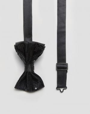 ASOS Черный галстук-бабочка с пайетками. Цвет: черный