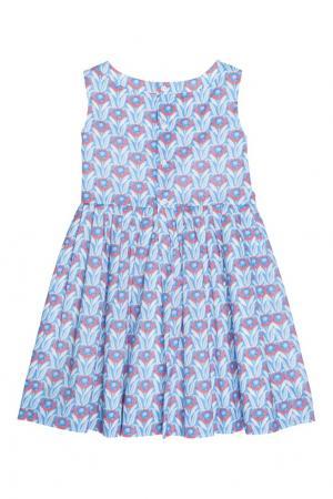 Хлопковое синее платье ALINA Bonpoint. Цвет: синий