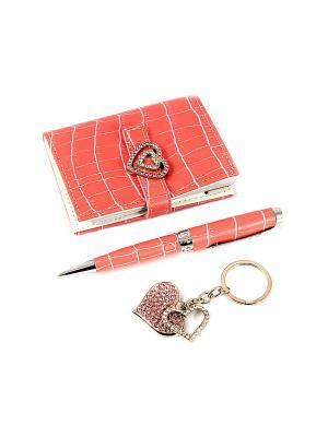 Подарочный набор: ручка, визитница, брелок Русские подарки. Цвет: розовый