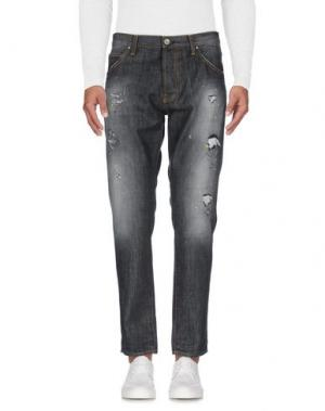 Джинсовые брюки AGLINI. Цвет: стальной серый