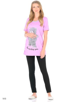 Футболка для беременных FEST. Цвет: розовый, серый