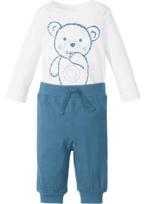 Для малышей: боди с длинным рукавом + трикотажные брюки (2 изд.), биохлопок (белый/синий джинсовый) bonprix. Цвет: белый/синий джинсовый