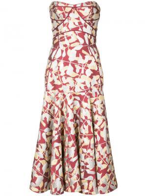 Платье без бретелей с жаккардовым узором J. Mendel. Цвет: красный