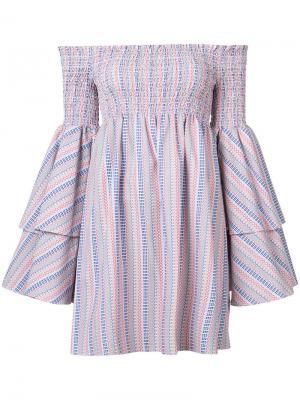 Платье с открытыми плечами Caroline Constas. Цвет: красный