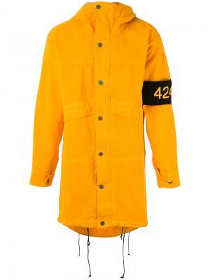 Пальто с капюшоном 424 Fairfax. Цвет: жёлтый и оранжевый