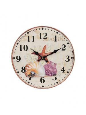 Часы настенные Морские сокровища, диаметр 34 см (132-CL) Белоснежка. Цвет: кремовый, бледно-розовый, серо-зеленый