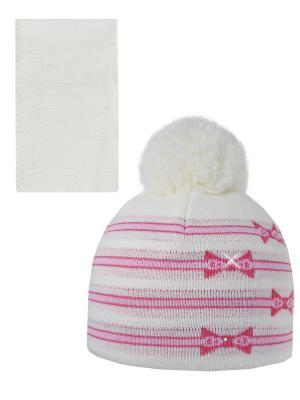 Шапка, шарф Pro-han. Цвет: молочный, розовый, малиновый